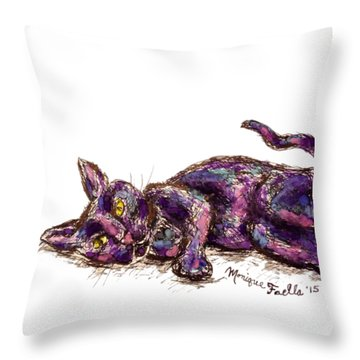 Throw Pillow featuring the painting Purple Cat by Monique Faella