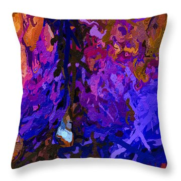 Throw Pillow featuring the painting Purple Cave by Joan Reese