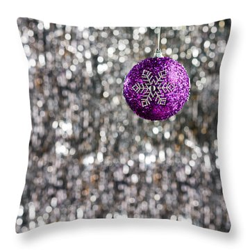 Throw Pillow featuring the photograph Purple Christmas Bauble  by Ulrich Schade