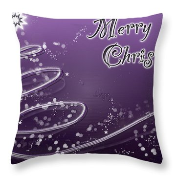Purple Christmas Card Throw Pillow by Lisa Knechtel