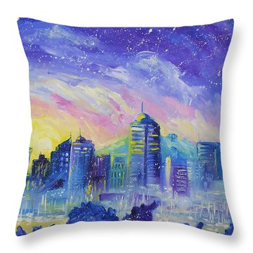 Purple City Throw Pillow