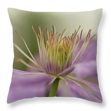 Purple Clematis Macro Throw Pillow