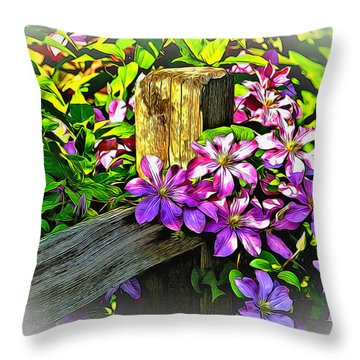 Purple Clematis On Split Rail Fence Throw Pillow