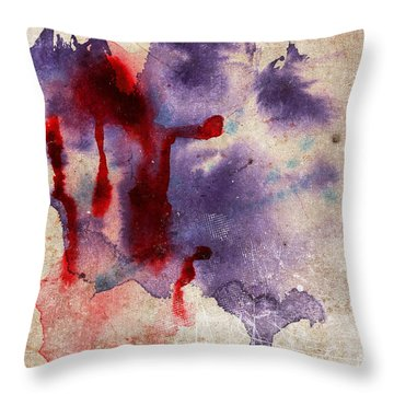 Purple Color Splash Throw Pillow