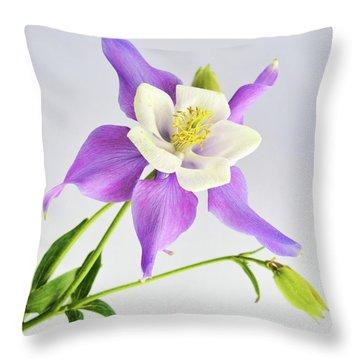 Throw Pillow featuring the photograph  Purple Columbine by Ann Bridges