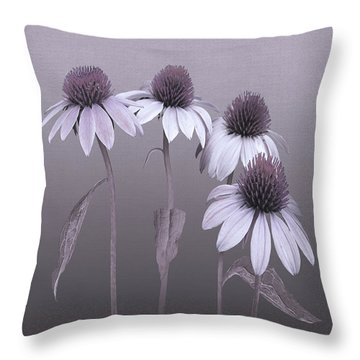 Purple Coneflowers And Dragonfly Throw Pillow