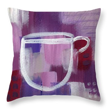 Purple Cup- Art By Linda Woods Throw Pillow