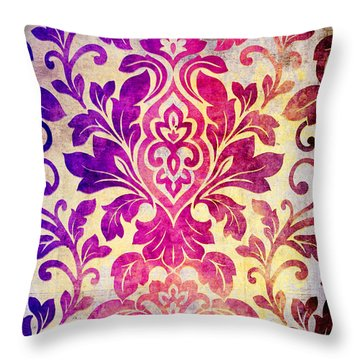 Purple Damask Pattern Throw Pillow