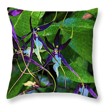 Throw Pillow featuring the photograph Purple Dancers by Richard Goldman