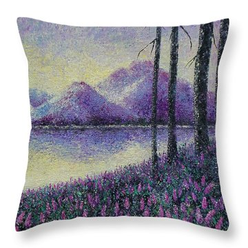 Throw Pillow featuring the painting Purple Daze by Susan DeLain