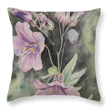 Purple Delight Wildflowers Throw Pillow