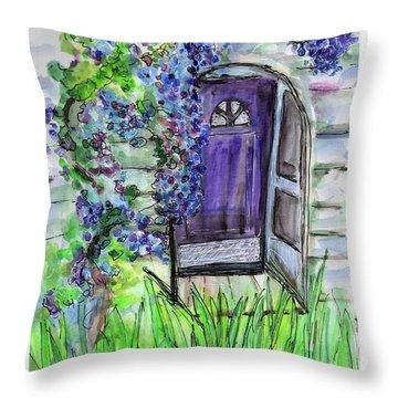 Purple Doorway Throw Pillow