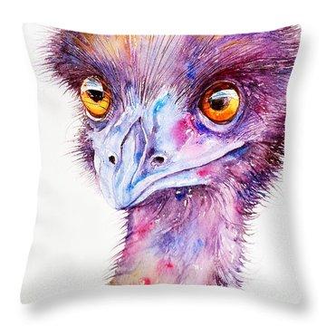 Purple Emu Throw Pillow by Arti Chauhan
