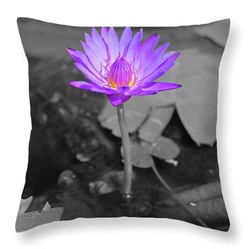 Purple Enlightened Lotus Throw Pillow