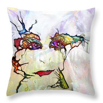 Purple Eyed Nymph Throw Pillow