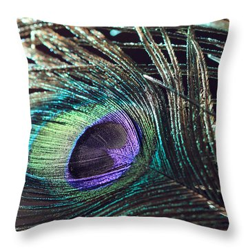 Purple Feather With Dark Background Throw Pillow