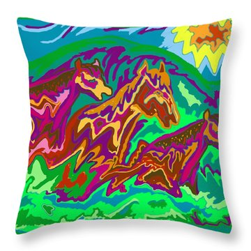 Purple Feathered Horses Throw Pillow