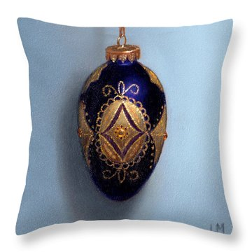 Purple Filigree Egg Ornament Throw Pillow
