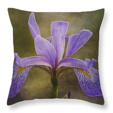Throw Pillow featuring the photograph Purple Flag Iris by Patti Deters