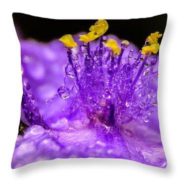 Purple Flower After The Rain Throw Pillow