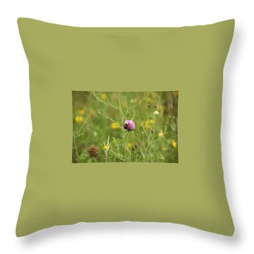 Purple Flower And Bee Throw Pillow