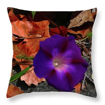 Purple Flower Autumn Leaves Throw Pillow