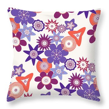 Purple Flower Fantasy Throw Pillow by Methune Hively