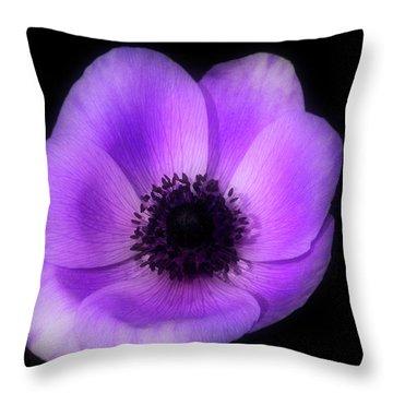 Purple Flower Head Throw Pillow