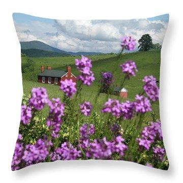 Purple Flower In Landscape Throw Pillow