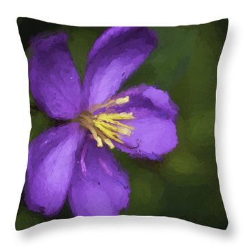 Throw Pillow featuring the photograph Purple Flower Macro Impression by Dan McManus