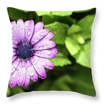 Purple Flower On Green Throw Pillow