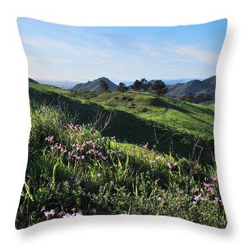 Throw Pillow featuring the photograph Purple Flowers And Green Hills Landscape by Matt Harang