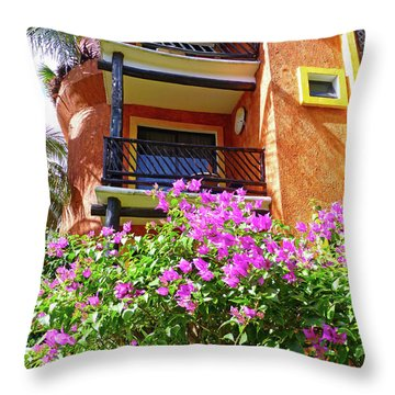 Throw Pillow featuring the photograph Purple Flowers By The Balcony by Francesca Mackenney