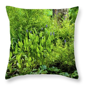 Throw Pillow featuring the photograph Purple Flowers By The Ponds Edge by Dennis Dame