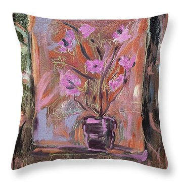 Purple Flowers In Vase Throw Pillow