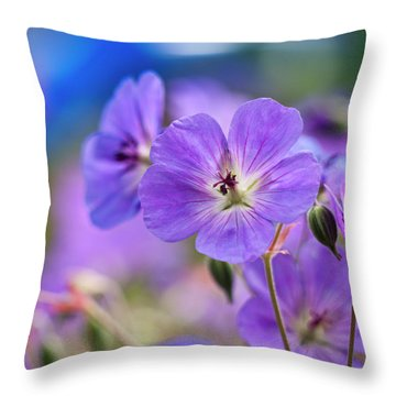 Purple Flowers Throw Pillow by Rae Tucker
