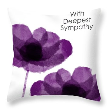 Purple Flowers Sympathy Card- Art By Linda Woods Throw Pillow