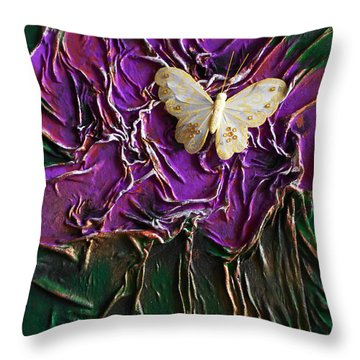 Purple Fowers With Butterfly Throw Pillow
