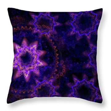 Purple Fractal Tapestry Throw Pillow