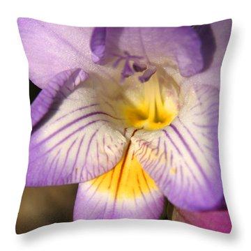 Purple Fresia Flower Throw Pillow