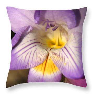 Purple Fresia Flower Throw Pillow