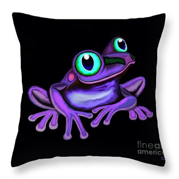 Throw Pillow featuring the painting Purple Frog  by Nick Gustafson