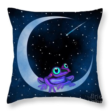 Throw Pillow featuring the painting Purple Frog On A Crescent Moon by Nick Gustafson