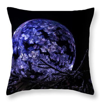 Purple Frozen Bubble Art Throw Pillow