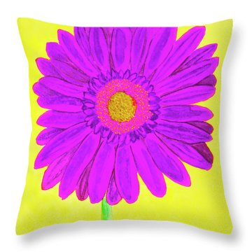 Purple  Gerbera On Yellow, Watercolor Throw Pillow