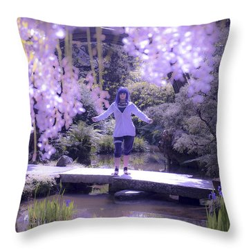 Purple Girl And Hydrangea Throw Pillow