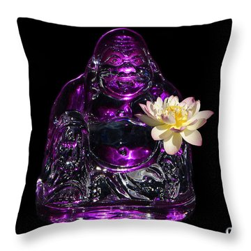 Purple Glass Buddah With Yellow Lotus Flower Throw Pillow