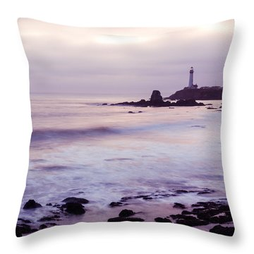 Throw Pillow featuring the photograph Purple Glow At Pigeon Point Lighthouse Alternate Crop by Priya Ghose