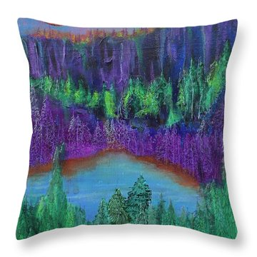 Throw Pillow featuring the painting Purple Gorge by Kim Nelson