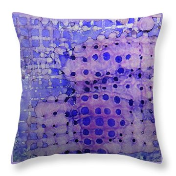 Throw Pillow featuring the painting Purple Grid Ink #2 by Sarajane Helm